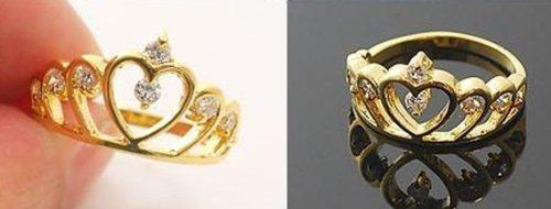 JE237 Kleine Pinky Finger Ring, Herz Tiara Ring, Edelstein Besetzten Ring Schmuck