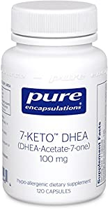 Pure Encapsulations - 7-KETO DHEA (DHEA-Acetate-7-One) 100 mg. - Unique DHEA metabolite - Hypoallergenic Dietary Supplement - 120 Capsules