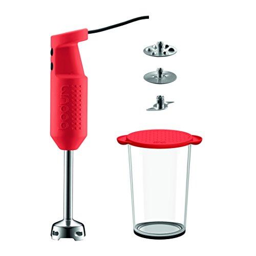 Bodum Bistro Elektrischer Mixer mit Zubehör (2 Scheiben, 1 Messer, 1 Rührschüsse liters) rot