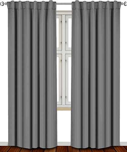 Blackout Room Darkening Curtains Window Panel Drapes Grey ...