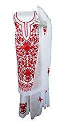 eco haat Hand Crafted vibrant Traditional unstitched Red &White Salwar Suit Dress Material