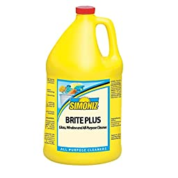 Simoniz B0405004 Brite Plus Concentrated Glass Cleaner, 1 gal Bottles per Case (Pack of 4)