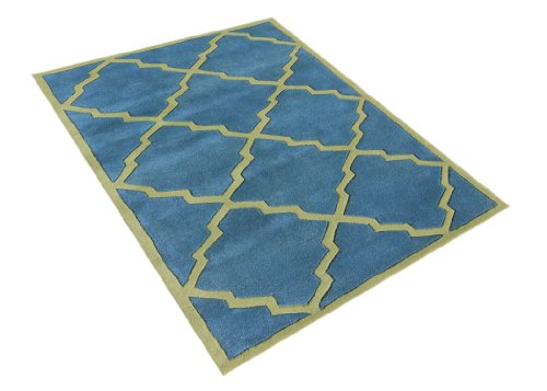 Alliyah Rugs Alliyah Wool Rug, Aqua/Aspen Green, 8' x 10'