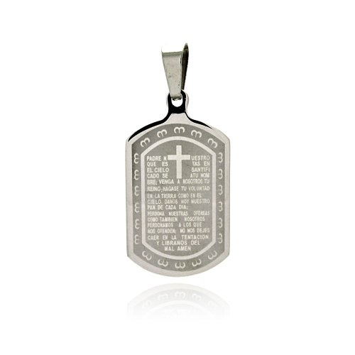 **Lead Free** Stainless Steel 22.5Mm(W)X40Mm(H) Padre Nuestro Prayer Design Dog Tog Fashion Charm Pendant