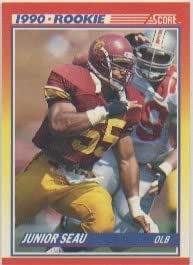 1990 Score Junior Seau Rookie Football Card #302 - Shipped In Protective Display Case!