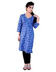 Pure Nautanki 3/4 Sleeves Blue Printed Kurta With Cotton Band And Embroidery On Neck