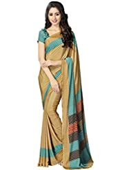 KANCHNAR Women's Crepe Silk Saree (91S216_Beige & Green)