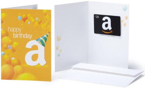 Amazon.com Gift Card with Greeting Card - $25 (Birthday Balloons design)
