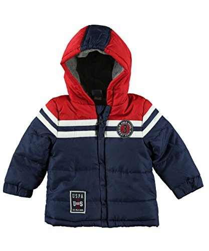 Us Polo Association Baby-Boys Infant Three Toned Puffer Jacket With Hood, Navy, 12 Months