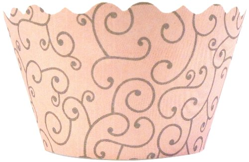 Bella Cupcake Couture 100-Pack Olivia Swirl Cupcake Wrappers, Mini, Pink/Grey front-919579