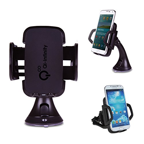 Qi-Infinity™ Wireless Car Charger Dock For Qi Enabled Phones/Tablets Like Nexus 5, Nexus 4, Nokia Lumia 920, Lumia 1020, Lumia 720, Lumia 820, Htc 8X, Moto Droid Mini, Htc Droid Dna, Htc Rzound, Blackberry Z30, Pentax ,Samsung, Google, Lg, Htc