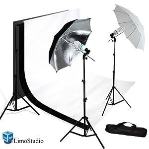 LimoStudio Photography Photo Studio Umbrella Lighting Kit Set & 10X10 White Black Double Muslin Backdrop Background Carrying Case, AGG720
