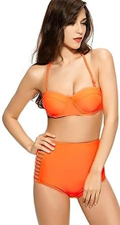 Ebuddy @ Flora Print Vintage High Waisted Bikini Sets Swimsuit Swimwear (M (US4-6), 2609)