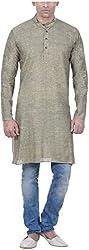 Amafhh Men's Cotton Regular Fit Kurta (amfkrm1921-green, 38)