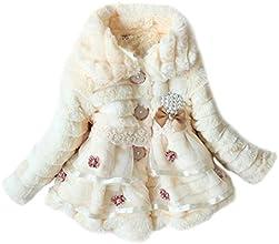 Amoin Kids Girls Faux Fur Fleece Lapel Coat Winter Warm Jacket