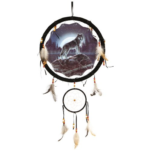 "Wolf Dream Catcher 13"" with Real Feathers"