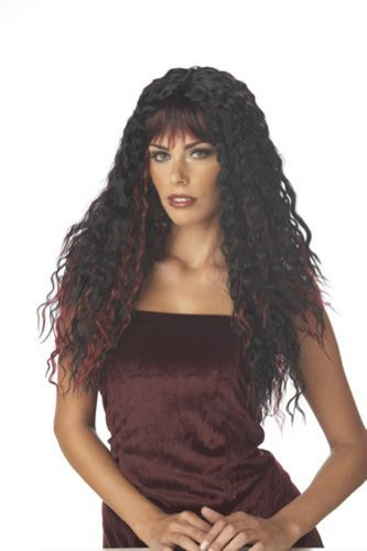 Fierce Black and Burgundy Wig for Halloween Costume