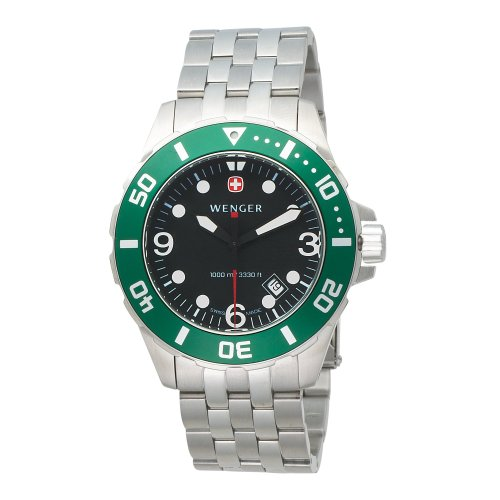 Wenger Men'S 72227 Aquagraph 100M Green Bezel Steel Bracelet Watch