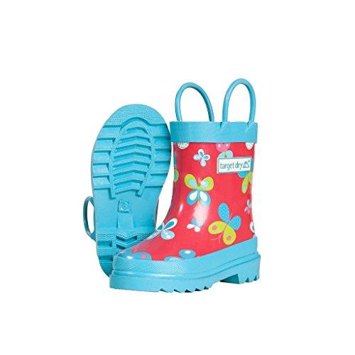 Target Dry - Stivali in gomma con fantasia di farfalle - Bambina (30 EU) (Rosso/Blu)