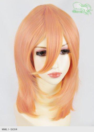 スキップウィッグ 魅せる シャープ 小顔に特化したコスプレアレンジウィッグ フェザーミディ オレンジキャンディ