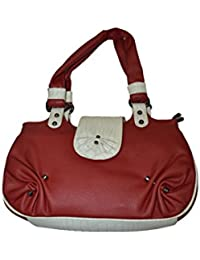 Knott Fashionable Multipurpose Red And White Hand Bag For Women