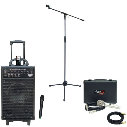 Pyle Speaker, Mic, Stand And Cable Package - Pwma860I 500W Vhf Wireless Portable Pa System /Echo W/Ipod Dock - Pdmik4 Dynamic Microphone With Carry Case - Pmks2 Tripod Microphone Stand W/Boom - Ppmcl30 30Ft. Symmetric Microphone Cable Xlr Female To Xlr Ma
