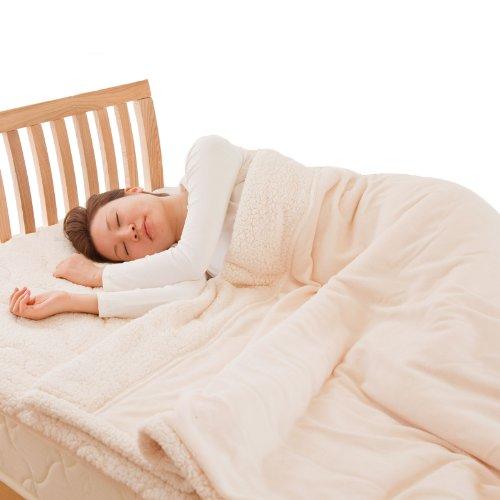 マイクロファイバーぬくぬく2枚合わせ毛布 シングル (ボリュームタイプ・抗菌綿使用) ベージュ 24320105
