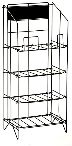Displays2go Wire Newspaper Stand With 4 Shelves  Free Standing  Adjustable Height Pockets With Nameplate   Black