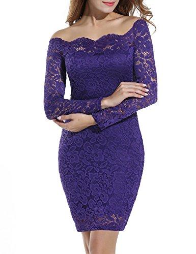 ACEVOG Women's Off Shoulder Lace Dress Long Sleeve Bodycon Casual Dresses (Medium, Purple)