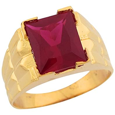 14ct Gold Synthetic Ruby July Birthstone Unique Designer Mens Ring