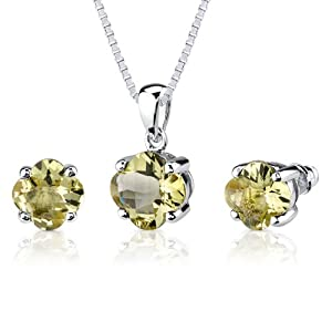 Classic Fashion: 6.25 carat Checkerboard Lily Cut Lemon Quartz Pendant Earring Set in Sterling Silver Rhodium Nickel Finish from Peora