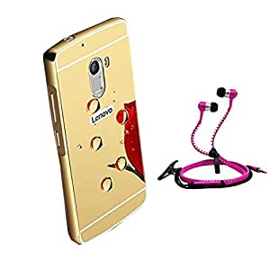 Droit Luxury Metal Bumper + Acrylic Mirror Back Cover Case For + Lenovo-K4 Note Stylish Zipper Handfree and Good QualitySound by Droit Store.