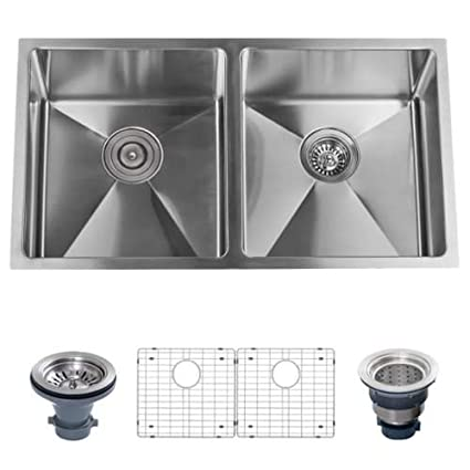 "Miseno MSS3219SR5050 32"" Undermount Double Basin Stainless Steel Kitchen Sink wi, 16 Gauge Stainless Steel"