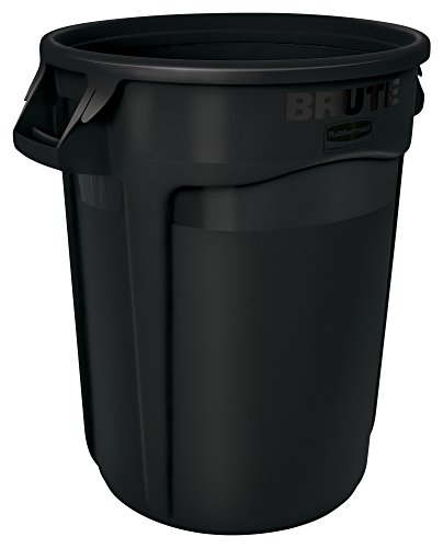 Rubbermaid commercial 1867531 brute heavy duty round waste utility container 32 gallon black - Garden waste containers ...