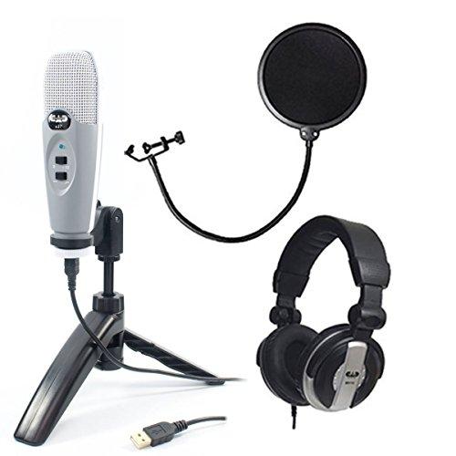 CAD-Audio-U37-USB-Studio-Condenser-VocalInstrument-Recording-Microphone-With-CAD-Audio-6-Pop-Filter-on-Gooseneck-CAD-Audio-MH110-Studio-Monitor-Headphones