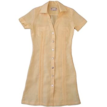Women's Yellow-Pleated Guayabera ....size Extra Large