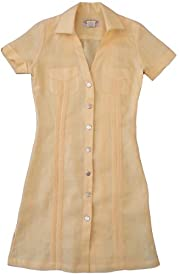 Women's Yellow-Pleated Guayabera ....size Large