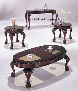 Cherry Finish 3 Piece Coffee Table Set Cofee Table & 2 End Tables