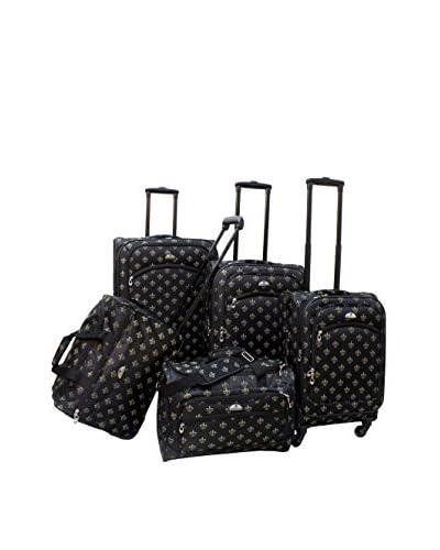 American Flyer 5-Piece Fleur de Lis Spinner Luggage Set, Black