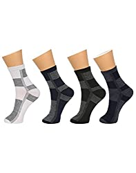Gumber Pack of 4 Pairs of Multicoloured Striped Ankle Length Socks (GE_JR_MENZ_CHECK_4PC)