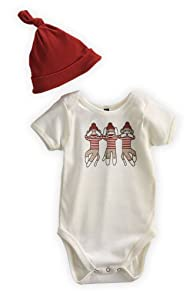 Green 3 Apparel 3 Sock Monkeys Dye-free Organic Baby Gift Set (6-12 months)