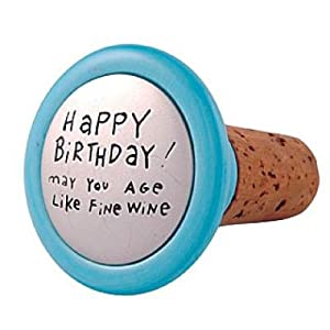 Our Name Is Mud by Lorrie Veasey Happy Birthday Wine Stopper , 2-1/4-Inch