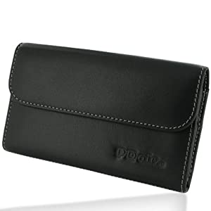 Pdair Black Leather Business Pouch Case for Samsung Galaxy Note GT-N7000