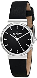 Skagen Women's SKW2193 Ancher Silver-Tone Stainless Steel Watch with Black Leather Band