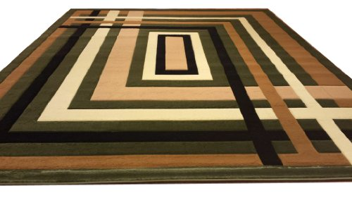 J704 Contemporary Modern Jagged Maze Pattern Green Black Brown Hand Carved 5x8 Actual Size 5'3x7'2 Rug