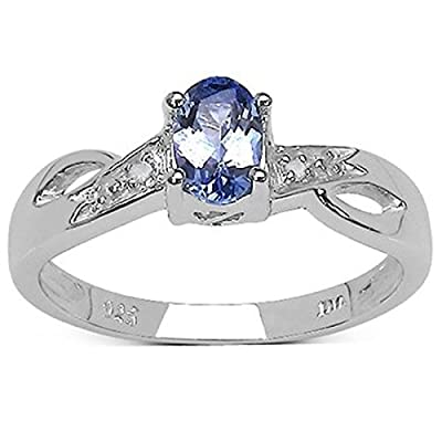 The Tanzanite Ring Collection: Beautiful Sterling Silver Oval Tanzanite Engagement Ring with Diamond Set Shoulders