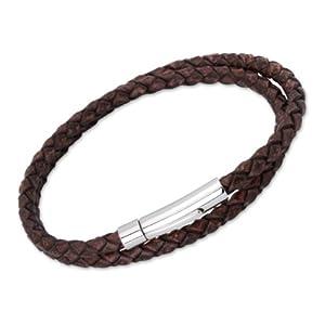 Unique Men 21cm Antique Dark Brown Double Wrap Leather Bracelet With Stainless Steel Clasp by Unique Jewelry Ltd
