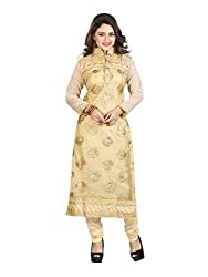 Fab Hub Women's Net Semi-stitched Dress Material (SUIT_Gold_Free Size)