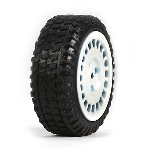 Tires, Mounted, White (4): Micro Rally - 1