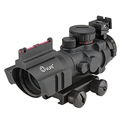 CVLIFE 4x32 Tactical Rifle Scope Red & Green &Blue illuminated Reticle Scope with Fiber Optic Sight by Huihaozi